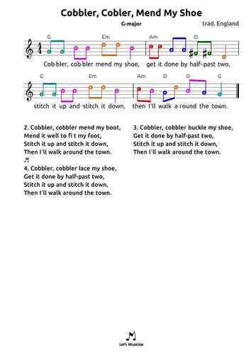 Cobbler Cobbler Mend My Shoe (G) for recorder ocarina guitar ukulele harmonica drums bass;  age 7-9