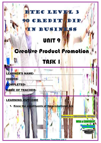 WORKSHEET - CREATIVE PRODUCT PROMOTION - P1 (UNIT 9 - BTEC DIPLOMA QUALIFICATION)