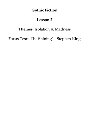 Gothic Fiction: The Shining - Stephen King (lesson 2)