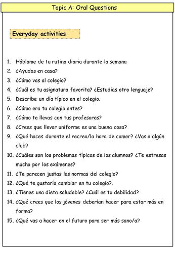 What are some good ideas for A2 Spanish Coursework?
