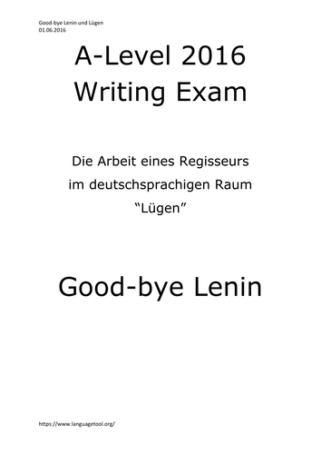 A2 German Writing Cultural Topic Good-bye Lenin + Lügen