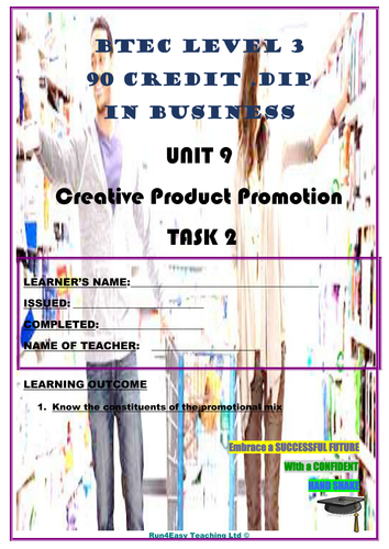 WORKSHEET - CREATIVE PRODUCT PROMOTION - P2  (UNIT 9 - BTEC DIPLOMA QUALIFICATION)