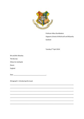 Harry Potter letter of complaint formal letter task