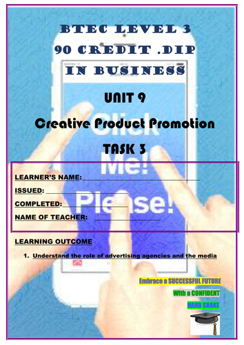 WORKSHEET - CREATIVE PRODUCT PROMOTION – P3 (UNIT 9 - BTEC DIPLOMA QUALIFICATION)