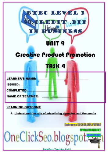 WORKSHEET - CREATIVE PRODUCT PROMOTION – P4 (UNIT 9 - BTEC DIPLOMA QUALIFICATION)