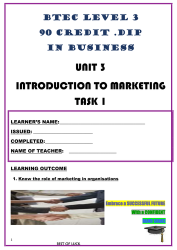 WORKSHEET – INTRODUCTION TO MARKETING – P1 (UNIT 3 - BTEC DIPLOMA QUALIFICATION)