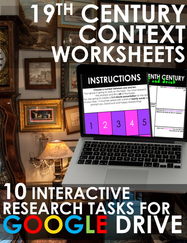 Nineteenth Century Worksheets for GOOGLE DRIVE! 19th / 1800s Rigorous Research Topics 1:1