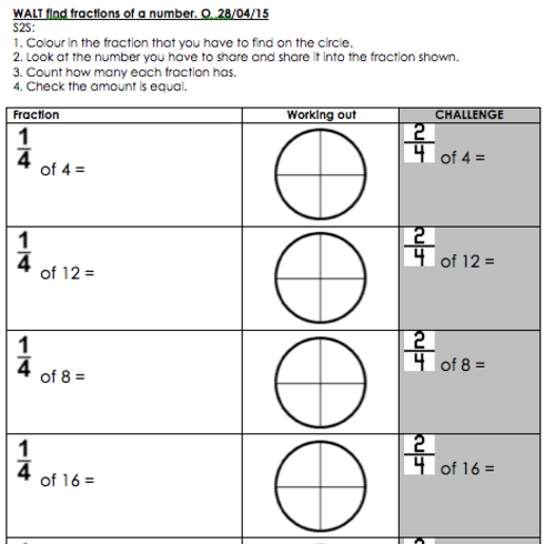 Finding fractions of numbers / amounts as asked in KS1 SATs