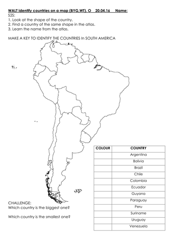 Identifying countries on a map - South America - Focus: Brazil