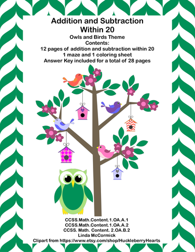 No Prep Grade 1-Math Addition & Subtraction Within 20 Worksheets ...