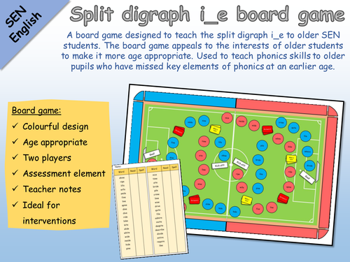 SEN English - Phonics - Split digraph i_e football board game