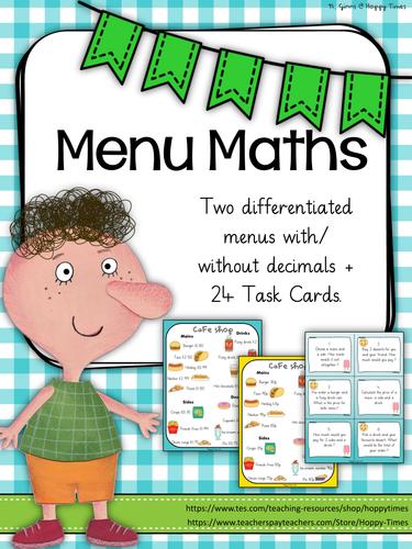 Cafe Menu Maths Money Decimals By Hoppytimes Teaching