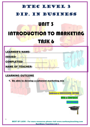 WORKSHEET – INTRODUCTION TO MARKETING – P6 (UNIT 3 - BTEC DIPLOMA QUALIFICATION)