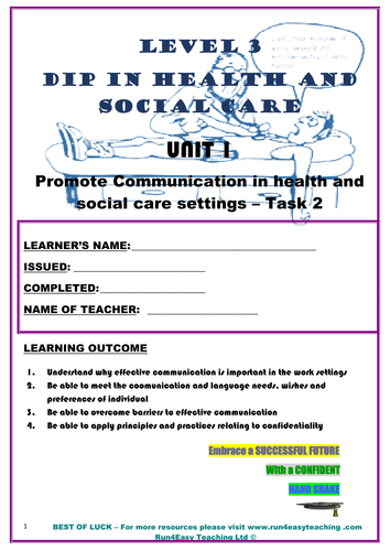 WORKSHEET – PROMOTE COMMUNICATION IN HEALTH AND SOCIAL CARE SETTINGS – TASK 2 (L3 DIPLOMA IN HEALTH