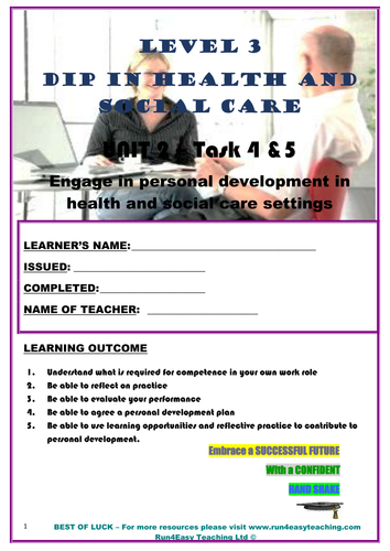 WORKSHEET – ENGAGE IN PERSONAL DEVELOPMENT IN HSC SETTINGS – TASK 4 & 5 (L3 DIPLOMA IN HSC)