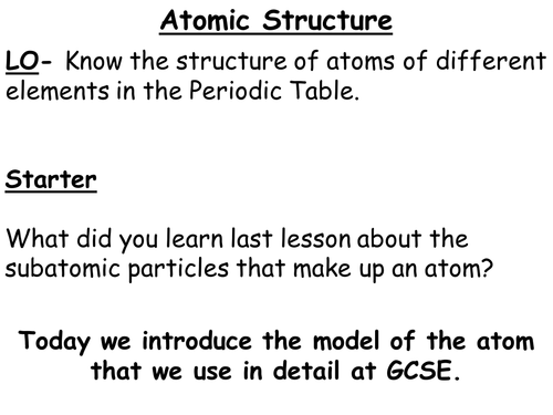 New ks3 year 7 sceince investigation skills level assessed tasks atomic structure for the new gcse urtaz Choice Image
