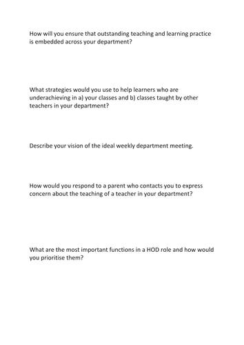 Aspiring HoD Interview Questions