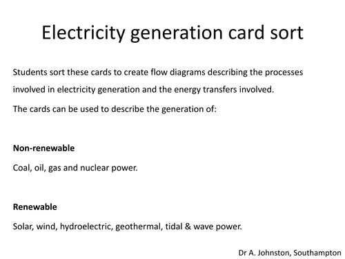 Electricity generation-card sort