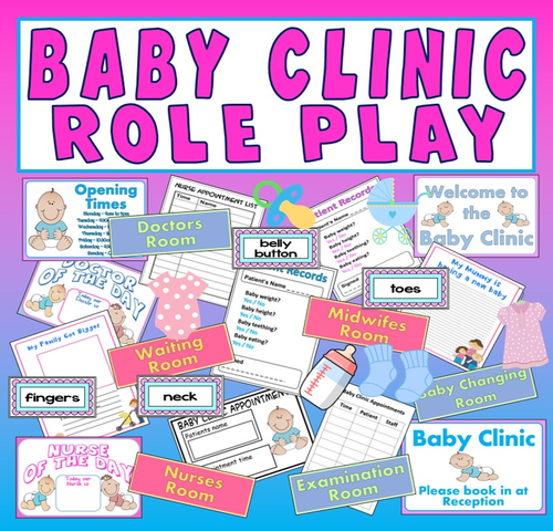 BABY CLINIC ROLE PLAY TEACHING RESOURCES EARLY YEARS EYFS FAMILY KS 1-2