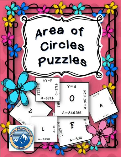 Area of Circles Puzzle Set