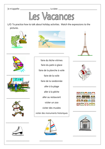 FRENCH - Les Vacances - Les Activitiés (present & past tenses) - Worksheets