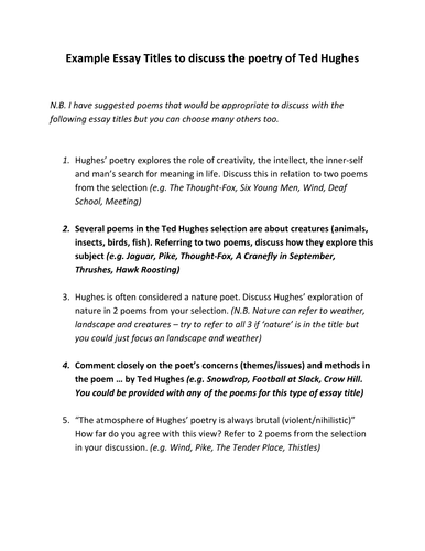 ted hughes exam style essay titles and prompts for specific poems  ted hughes exam style essay titles and prompts for specific poems by janehazel teaching resources tes