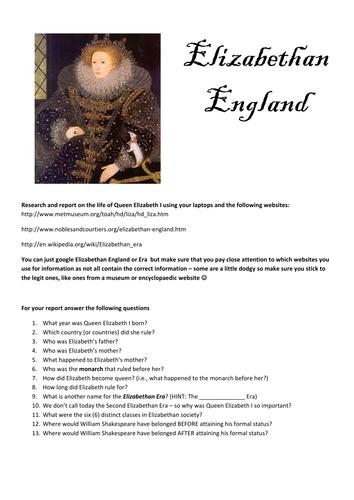 Elizabethan England Research Task
