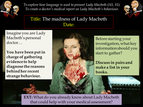 KS3: Macbeth - The Madness of Lady Macbeth (Act 5, Scene 1 activity)