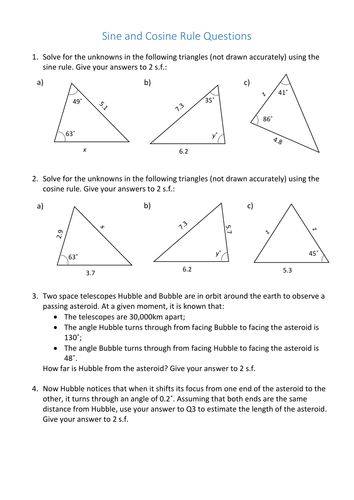 gcse sine and cosine rule worksheet by curingd teaching resources tes. Black Bedroom Furniture Sets. Home Design Ideas