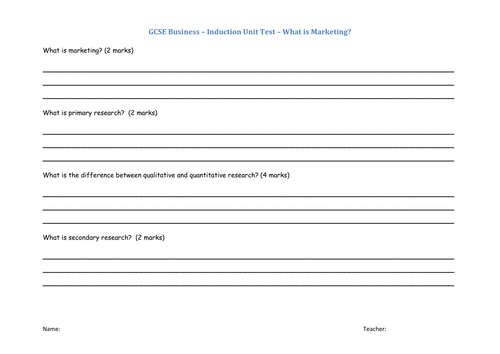 BTEC Business or GCSE  Business Induction Unit