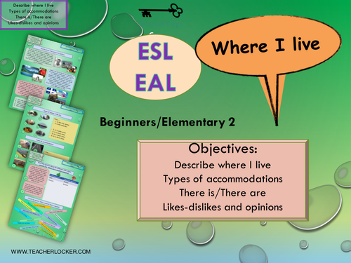 ESL - EAL Where I live - Where I am from  Unit 3 lesson 1 (lesson + exercises) (No Prep)