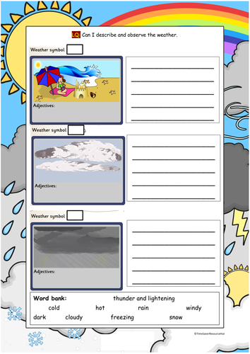 weather observe and descibe worksheets differentiated by mandem2014 teaching resources tes. Black Bedroom Furniture Sets. Home Design Ideas