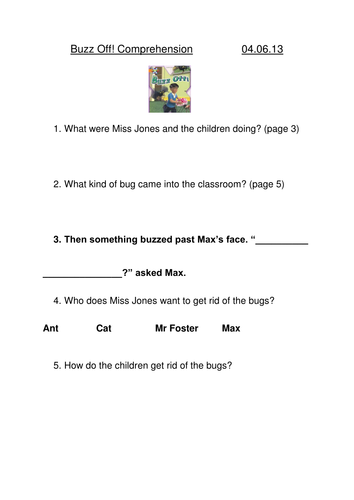 Oxford Reading Tree Comprehension Sheets