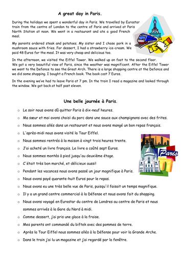 Le passé composé: 'A day in Paris' -  Text reconstruction.