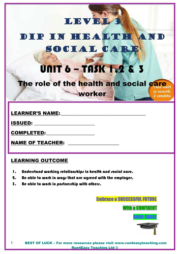 WORKSHEET – THE ROLE OF THE HSC WORKER – TASK 1, 2 & 3 (L3 DIPLOMA IN HSC)