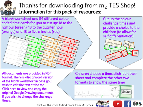 """Read and write the time in words, analogue and digital. """"Endless"""" differentiated activity"""