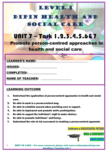 WORKSHEET–PROMOTE PERSON-CENTRED APPROACHES IN HSC–TASK 1-7 (L3 DIPLOMA IN HSC)