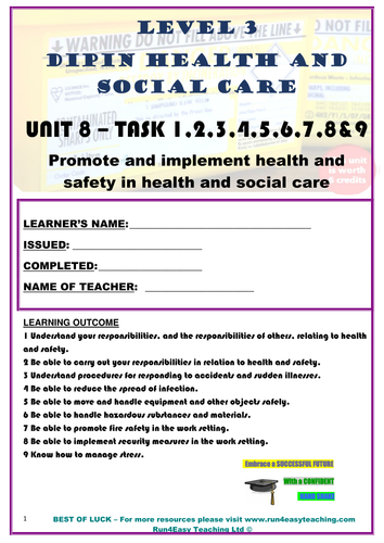 WORKSHEET– PROMOTE AND IMPLEMENT HEALTH AND SAFETY IN HSC–TASK 1-9 (L3 DIPLOMA IN HSC)