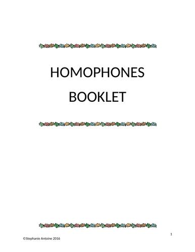 Homophones Booklet