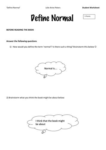 Define Normal' by Julie Anne Peters Set of 13 Worksheets by ...