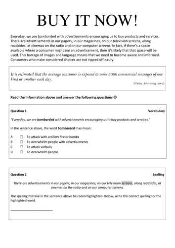 Introduction to Advertising Worksheet