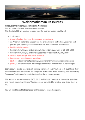 Introduction To Percentages Lessons Free Version By Welshmathsman