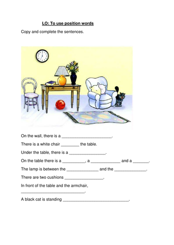 Year 3 and 4 Grammar Prepositions Lesson Plan