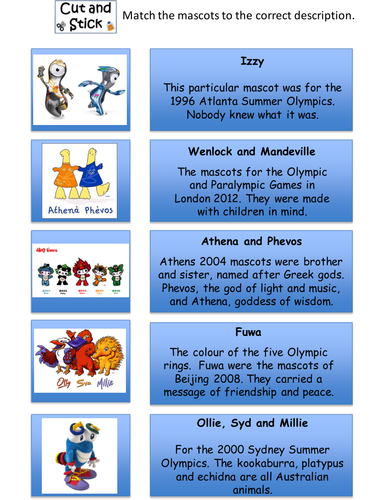 Olympic Mascot Lesson Rio 2016 by senteacher86 - Teaching Resources ...
