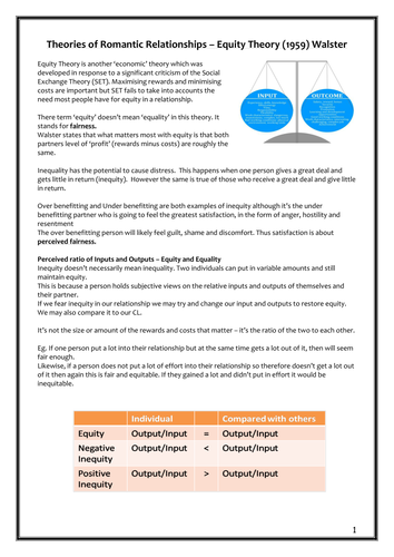 Relationships - Equity Theory Workbook - AQA New Specification