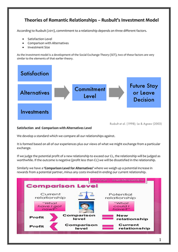 Relationships - Investment Model Workbook - AQA New Specification