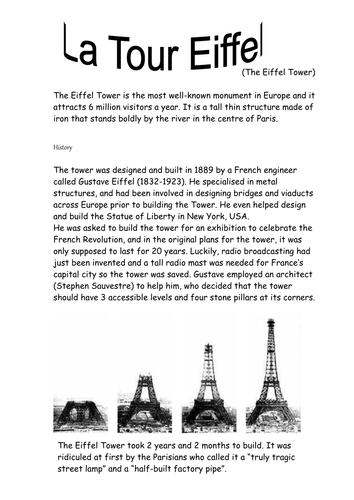 essay on eiffel tower in french language