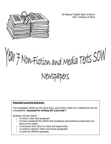 Newspapers: KS3 Complete SOW and Resources