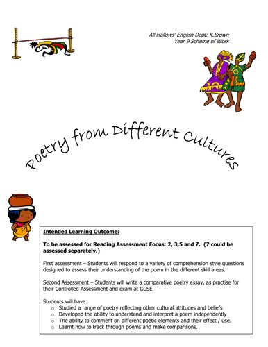 Poetry from Different Cultures: KS3 Full SOW and Resources
