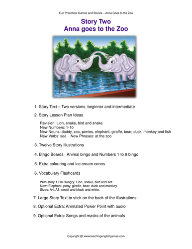 At The Zoo - Story, Lesson Plan, Flashcards, Bingo for Anna Goes To The Zoo